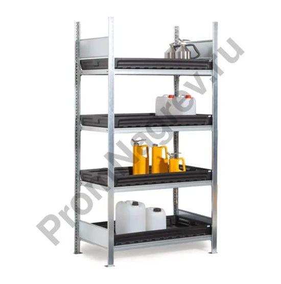 Стеллаж для хранения агрессивных химикатов, 4 сточных поддона из ПЭ, 1060 x 437 x 2000 мм, базовая модель
