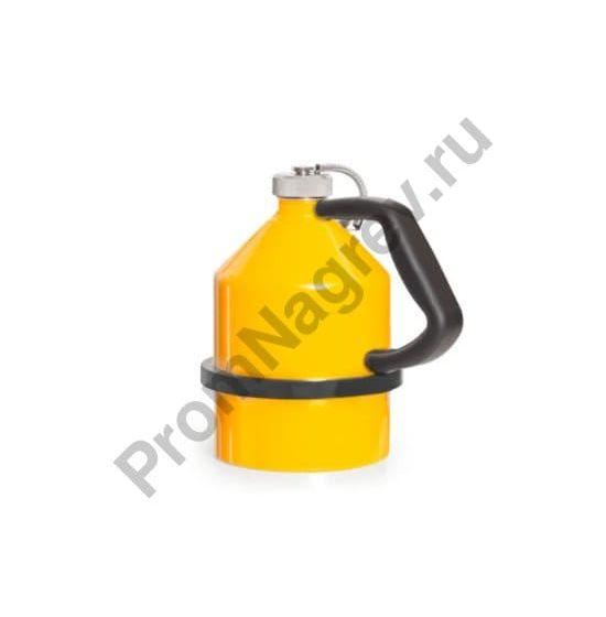 Стальная ёмкость для воспламеняющихся жидкостей, с завинчивающейся крышкой, оцинкованная, окрашенная в жёлтый цвет, 2 литра