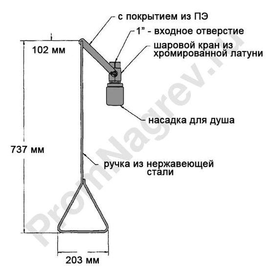 Эскиз аварийногодуша для тела G 1635 для потолочного монтажа, с пластиковой душевой насадкой