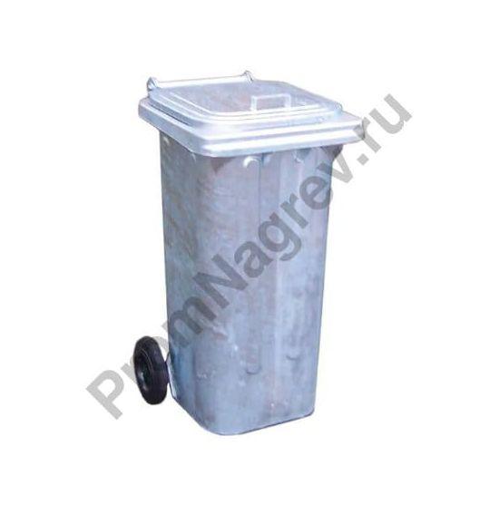 Передвижной мусорный контейнер из оцинкованной стали, объем 120 литров