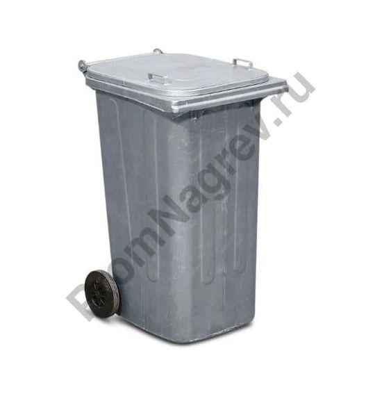 Стальной оцинкованный мобильный контейнер для мусора объемом 240 литров