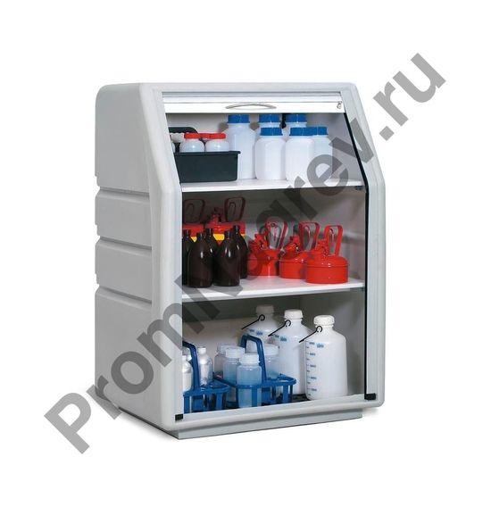 Небольшой шкаф, изготовленный из полиэтилена для хранения щелочей и кислот, серый.