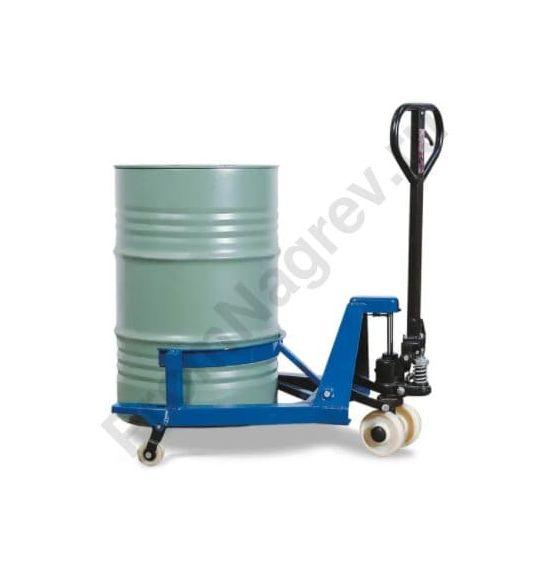 Устройство для подъема и транспортировки стальных бочек 200 литров, высота подъема 0-110 мм, ширина тележки 700 мм