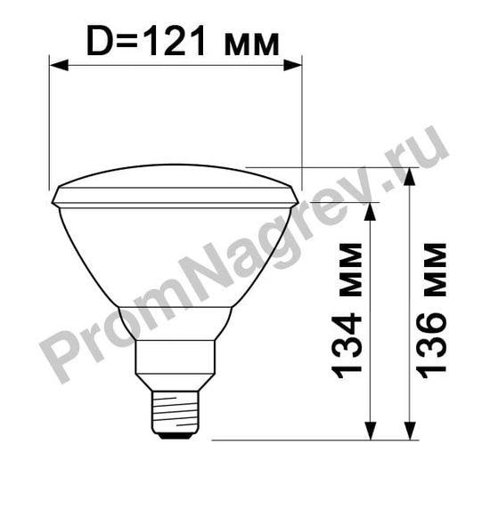 Греющая лампа Philips PAR38 IR 150W E27 230V Red 1CT/12, габаритные размеры
