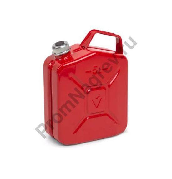 Топливная канистра из стали, с винтовой крышкой, красная, объем 5 литров