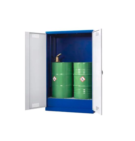 Шкаф на 2 бочки с распашными дверями, сточным поддоном и оцинкованной решеткой