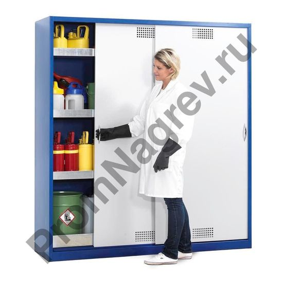Шкаф для химикатов Space CS 124, с раздвижными дверями, 3 полками-поддонами и сточным лотком в днище.