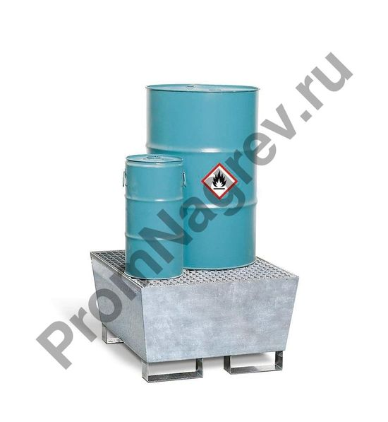Сточный резервуар BASIS A для одной бочки, из оцинкованной стали, с рёшеткой и ножками.