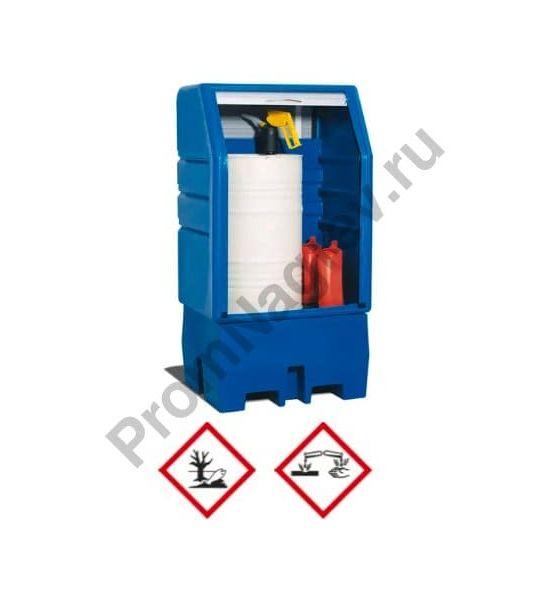 Шкаф PSR 8.8 из полиэтилена на 1 бочку 200 литров, дверь-жалюзи