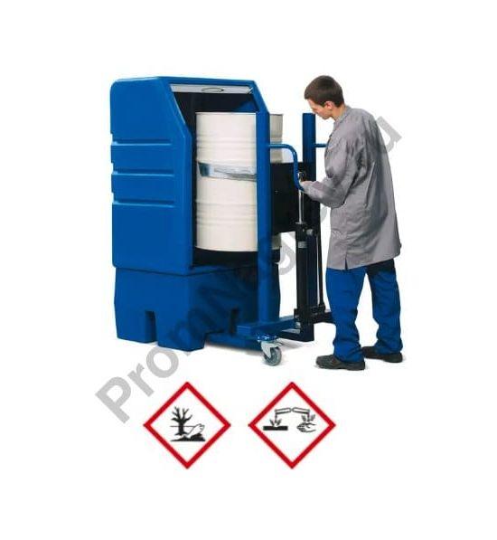 Шкаф PSR 8.8 из полиэтилена на 1 бочку 200 литров, дверь-жалюзи, сточный поддон с оцинкованной решёткой