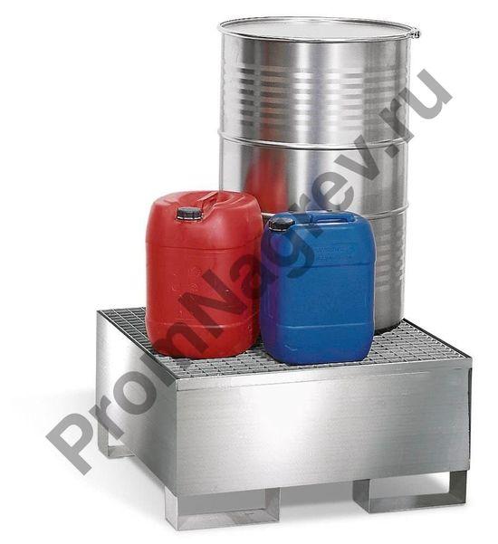 Поддон под 1 бочку (200 л), корпус из нержавеющей стали и оцинкованная решётка.