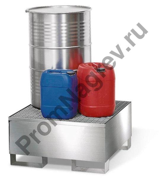 Поддон под одну бочку, корпус и решётка из нержавеющей стали в качестве примера изображен с тарой разной.