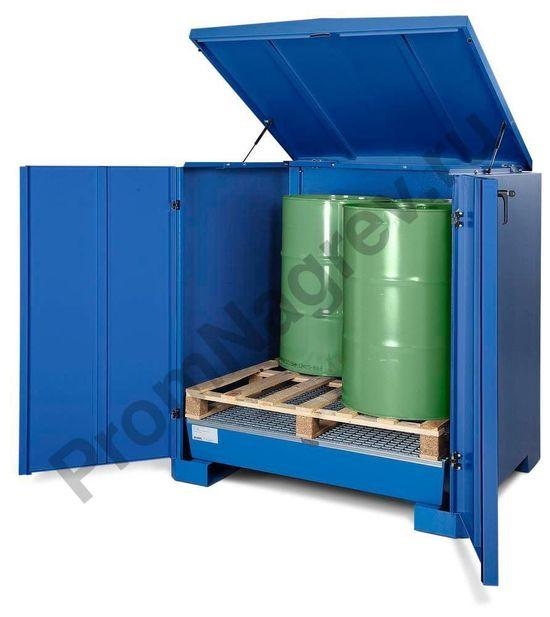 Контейнер-склад для хранения опасных веществ, тип L-4.2 на 4 бочки для хранения водоопасных веществ