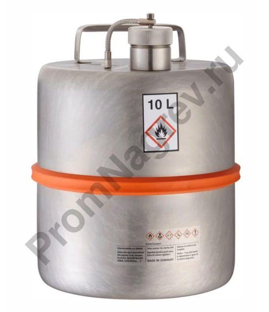 Ёмкость для безопасного хранения опасных веществ, нержавеющая сталь, с завинчивающейся крышкой, объём 10 литров