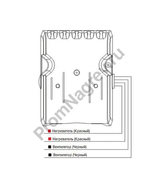 Электроподключение тепловентелятора для шкафов автоматики SL-SNV, мощность от 450 Вт до 800 Вт, размер 126x99x93 мм