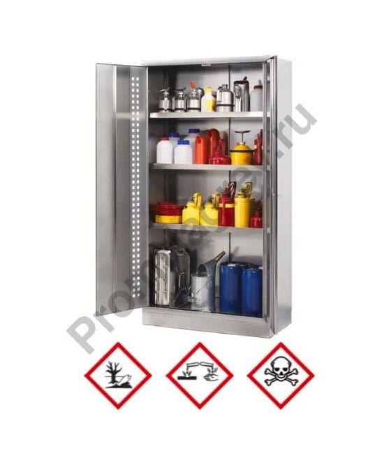 Шкаф для кислот и щелочей Inox W-104.6, корпус и двери из нержавеющей стали, с 4 сточными поддонами, глубина 60 см