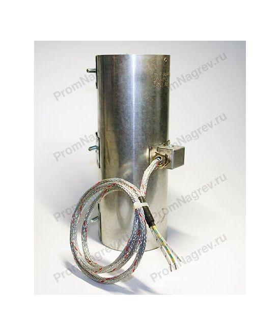 Миканитовый кольцевой нагреватель, диаметр 85 мм, ширина 240 мм, токовывод - клеммная колодка закрытая коробом и высокотемпературный провод