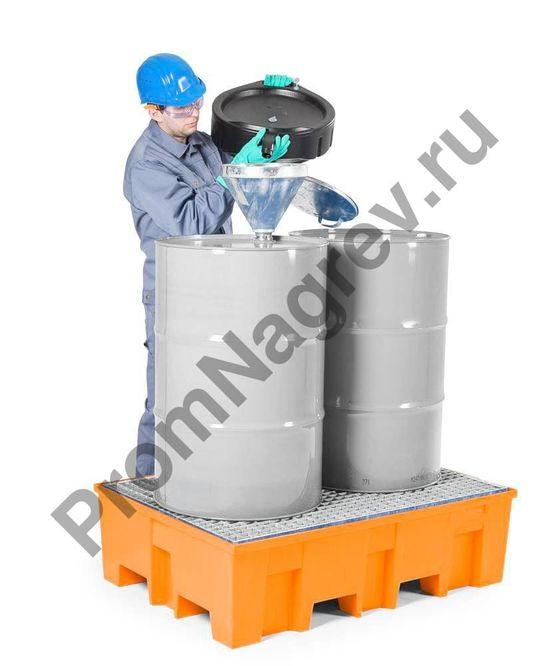 Поддон пластиковый (PE), стальная оцинкованная решётка, под две бочки,  базовая серия, осуществление фасовки вещества прямо в цеху.Тр