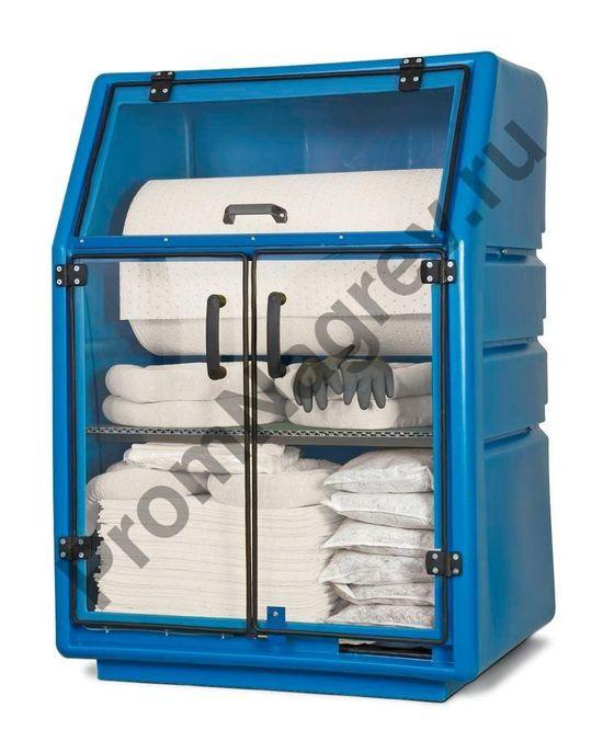 Полиэтиленовый шкаф со стеклянными дверками для хранения сорбентов под масло и нефть.