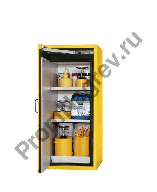 Шкаф для опасных веществ, узкий, с дверью слева.