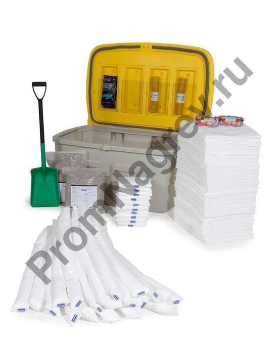 Аварийный набор сорбентов для сбора 400 литров опасной жидкости (нефть и масло), в защитной коробке.