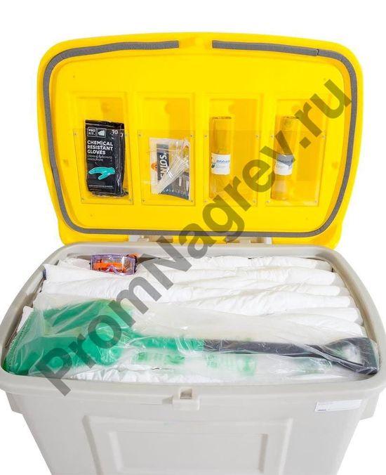 Содержания набора для аварии и чс, рассчитанный на уборку до четырехсот литров опасного вещества..