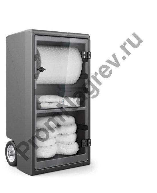 Передвижной набор в котнейнере-шкафчике на колёсиках с прозрачными дверьми, вместимостью 55 литров опасного вещества.