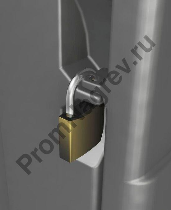 Мобильный аварийный набор в пластиковом контейнере, замок для надежного запирания дверей против несанкционированного доступа.