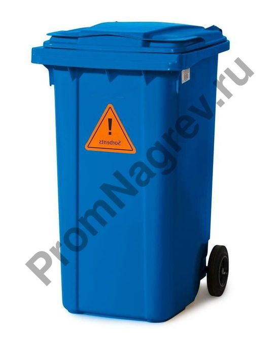Набор на случай аварийной ситуации, поглощающие средства в контейнере на колёсиках B 24, для масел и нефтепродуктов, вид на закрытый передвижной контейнер сбоку.