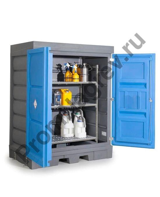 Серый корпус сочетается с синей двухстворчатой дверью, имеющей высококачественный замок из нержавеющей стали. В корпусе встроен двухстенный надежный поддон, который собирает проливающуюся жидкость.