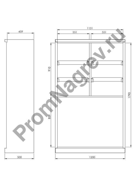 Схема сборки и оборудования Smart шкаф для хранения химикатов с дверками-створками с 6 маленькими поддонами и одним большим, тип CS 126.