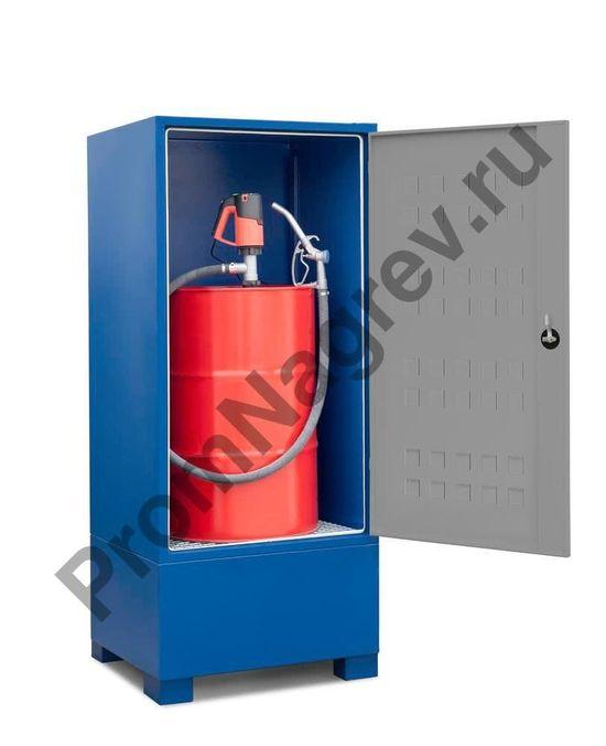 Стальное хранилище на одну 200-литровую бочку с опасными веществами.