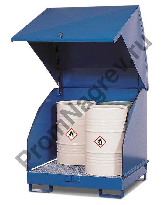 Станция 4 GST-KS для содержания опасных веществ с естественной вентиляцией, для 4 бочек по 200 литров, окрашенная сталь,  вместо крышки -откидывающаяся дверца.