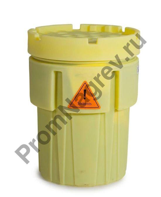 Жёлтая бочка с набором сорбентов для масляных и нефтяных жидкостей (200 ковриков), готовый к использованию.
