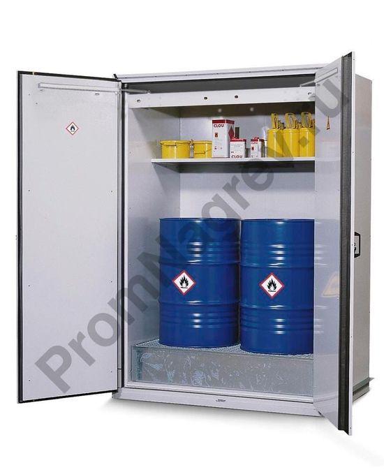Огнестойкий шкаф тип VbF 90.2  для хранения 2 бочек по 200 литров, со стальным сточным поддоном, с полкой для малых ёмкостей