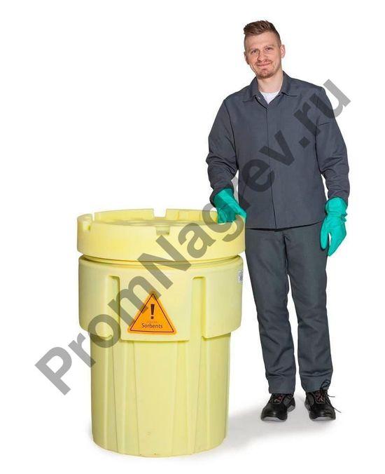 Бочка с сорбентами для сбора кислот, щелочей и других агрессивных веществ.