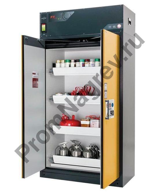Огнестойкий шкаф Custos для опасных веществ с циркуляционным фильтром, с четырьмя выдвигающимися поддонами, тип E-124.