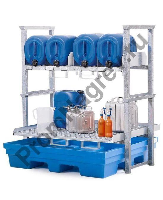 Полка для канистр и небольших контейнеров с полиэтиленовым поддоном
