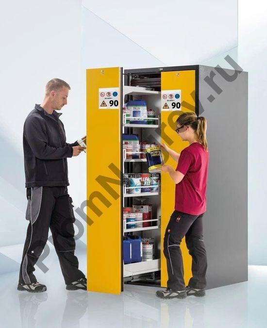 Шкаф Wide-Scoper объемом 9 полок с двумя желтыми стеллажами