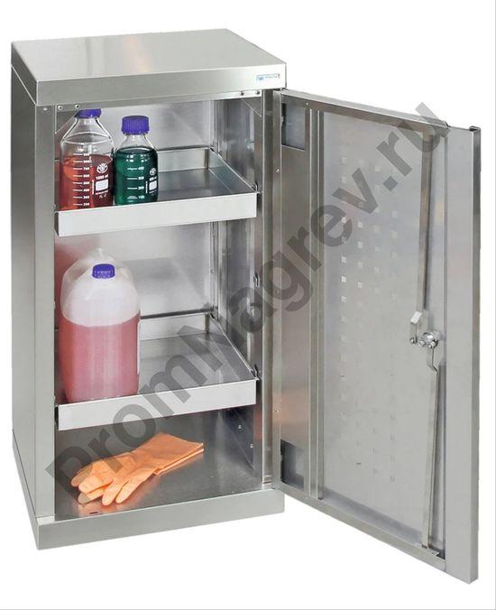 Универсальный шкаф из листовой нержавеющей стали, ширина 450 мм, высота 900 мм,  с цоколем, 2 сточных поддона