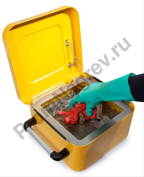 Ёмкость стальная для промывки мелких деталей, окрашенная, с решёткой для погружения, 8 литров, переносная