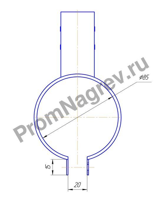 Эскиз кольцевого нагревателя миканитового 1000 Вт/230 В, диаметр 85 мм, ширина 169 мм