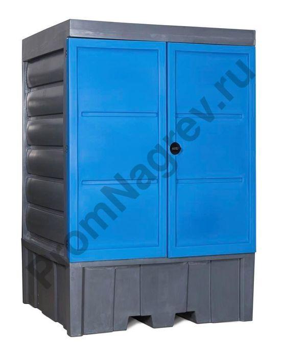Склад из полиэтилена для хранения водоопасных и агрессивных веществ для 4 бочек или 1 контейнера IBCпоставляется в собранном виде