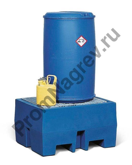 Пластиковый (PE) локализатор розлива с оцинкованной решёткой под бочку.