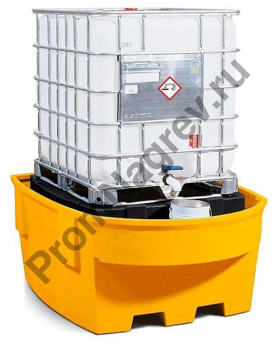Пластиковый поддон с пластиковым опорным кронштейном и зоной розлива, на 1 еврокуб (IBC).