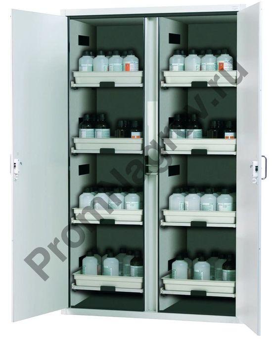 Шкаф для кислот и щелочей SL 1208 с двухстворчатой дверью и 8 выдвижными лотками.