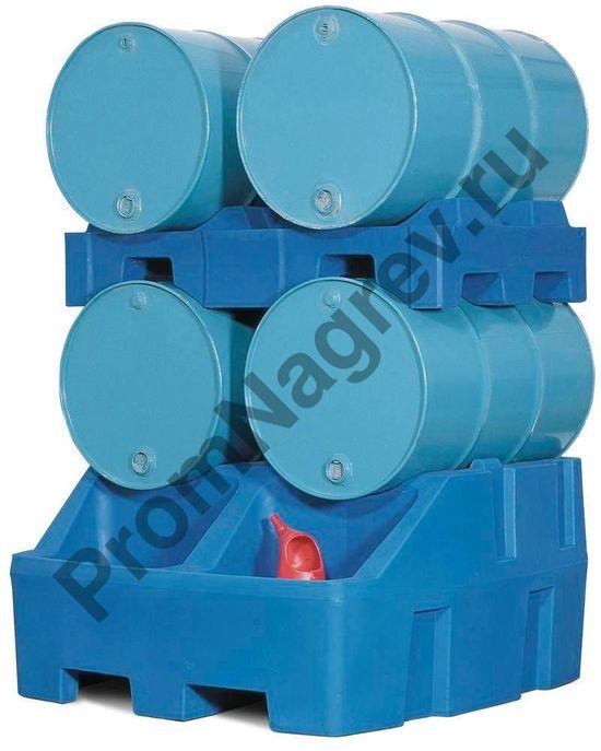 Станция розлива полиэтиленовая Poly Safe вместе с поддоном (РЕ) для бочек (общая вместимость 4 бочки по 200 л).