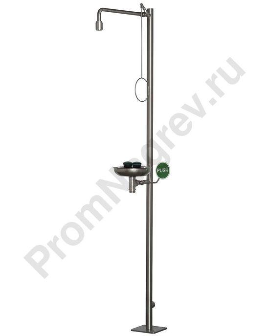 Аварийный душ для тела с душем для глаз и сточным лотком, нержавеющая сталь, напольный монтаж, BR 837 095 / 75л
