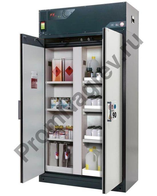 Большой шкаф для хранения опасных веществ с перегородкой, поддоны и полки, очистка воздуха, K-123.