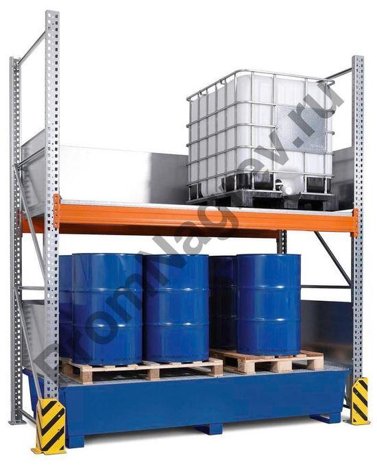 Комбинированный стеллаж на 4 еврокуба (IBC), окрашенный сточный лоток.